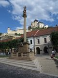 Trencin city castle and town square, Slovakia Stock Photo
