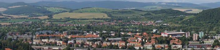 Trencin. Panorama City of Trencin Slovakia Stock Photo