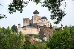Trencin in Slovakia. Old castle in Trencin. Overview Royalty Free Stock Photo