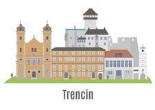 Trencin stad i västra Slovakien Royaltyfria Bilder