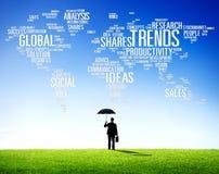 Trend Światowej mapy pomysłów socjalny stylu Marketingowy pojęcie Obraz Royalty Free