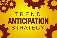 Trend Anticipation Strategy concept. TREND ANTICIPATION STRATEGY sign concept illustration with red gear wheel figures on yellow background Stock Photos