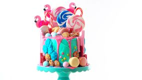 On trend candyland fantasy drip novelty birthday cake. On-trend candyland fantasy drip cake for children`s, teen`s birthday, anniverary, mother`s day and royalty free stock photography