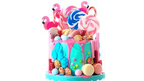 On trend candyland fantasy drip novelty birthday cake. On-trend candyland fantasy drip cake for children`s, teen`s birthday, anniverary, mother`s day and royalty free stock photo