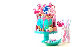 On trend candyland fantasy drip novelty birthday cake. On-trend candyland fantasy drip cake for children`s, teen`s birthday, anniverary, mother`s day and royalty free stock photos