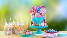 On trend candyland fantasy drip novelty birthday cake. On-trend candyland fantasy drip cake for children`s, teen`s birthday, anniverary, mother`s day and stock photo