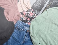 Trend clothes and accessories. Top view Royalty Free Stock Images