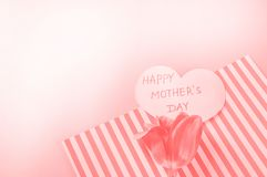 Trend, the concept of live coral color 2019. Tulips and heart shape, mother's day layout. Color palette. Flowers made background minimal map greeting royalty free stock photography