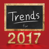 Trend dla 2017 rok tekstury drewnianej liczby z blackboard przy czerwienią Fotografia Royalty Free
