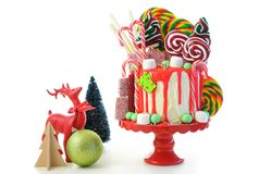 On trend Candy land Christmas drip cake. royalty free stock images
