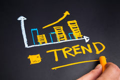 Trend. Hand sketching graph of Trend concept on chalkboard Stock Images