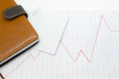 Trend line on the marked paper. Stock Images