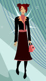 Trend Setter. Cute redhead struts her stuff in a super trendy outfit and star handbag Royalty Free Illustration