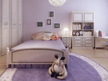 Trend of spacious teenagers bedroom Stock Image