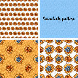 Trend of succulents patterns and stripes. Royalty Free Stock Photos