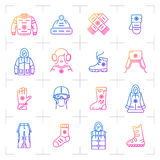 Trend winter clothes vector  gradient icon set, web symbols Royalty Free Stock Images