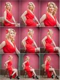 Trendig attraktiv blond kvinna i rött klänningsammanträde på stol Härlig elegant kvinna med den röda halsduken som poserar i eleg Royaltyfri Foto