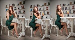 Trendig attraktiv ung kvinna i grönt klänningsammanträde i restaurang Härlig rödhårig man som poserar i elegant landskap med fruk Fotografering för Bildbyråer