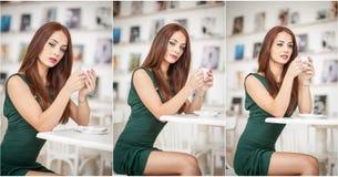 Trendig attraktiv ung kvinna i grönt klänningsammanträde i restaurang Härlig rödhårig man som poserar i elegant landskap med ett  Royaltyfria Foton