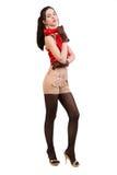 Trendig flicka i röd over vit royaltyfria foton