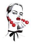 Trendig flicka med långa röda örhängen vektor illustrationer