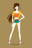 trendig flicka också vektor för coreldrawillustration Royaltyfria Bilder
