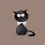 Trendig katt med flugan också vektor för coreldrawillustration Arkivbilder