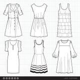 Trendig kläder för dam vektor illustrationer
