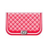 Trendig kopplinghandväska Modetillbehören i moderiktig röd/karmosinröd färg för skönhetsalong, shoppar, bloggtrycket stock illustrationer