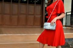 Trendig kvinna i röd påse för pytonorm för snakeskin för klänninginnehavläder Stäng sig upp av handväskan i händer av en stilfull royaltyfri bild