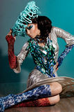 Trendig kvinna med konstanlete Royaltyfria Foton