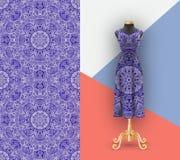 Trendig sömlös modell för utskrift på textiler och papper Åtlöje upp den kvinnliga klänningen med en prydnad Skyltdocka för demon royaltyfri illustrationer