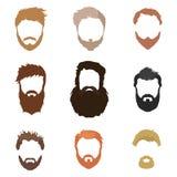 Trendiga mäns frisyr, skägg, framsida, hår, utklippmaskeringar, en samling av plana symboler Arkivfoto