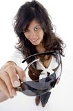 trendigt kvinnligslitage för glasögon Fotografering för Bildbyråer