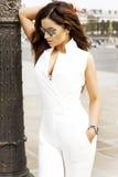 Trendigt posera för brunettkvinna Royaltyfria Bilder
