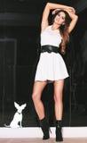 Trendigt posera för brunettkvinna. Arkivfoto