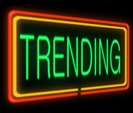 Trending concept. Illustration depicting a neon sign with a trending concept Stock Photo