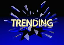 Trending News Popular Buzz Post Break Glass. 3d Illustration Stock Photography
