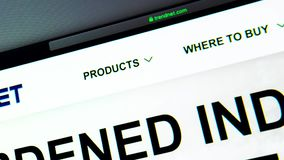 TRENDnet-Firmenwebsitehomepage Schließen Sie oben von Trendnet-Logo stock footage