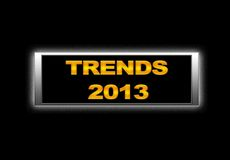 Trends 2013. Illustration with lluminated neon  sign with Trends 2013 Royalty Free Stock Images