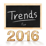 Trends for 2016 on blackboard in white background Royalty Free Stock Photo