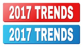 2017 TRENDS Caption on Blue and Red Rectangle Buttons. 2017 TRENDS text on rounded rectangle buttons. Designed with white caption with shadow and blue and red Royalty Free Stock Photo