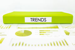 Trends concept with graphs, charts and marketing report Royalty Free Stock Photos