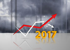 Trends 2017 concept with graphs. Trends 2017 concept with increasing and decreasing graphs Stock Photo