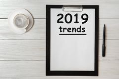 TRENDS 2019 Concept word on tablet. Trends 2019 of business concept for new year stock images