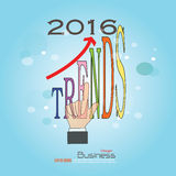 2016 trends. Hand point   word.Vector illustration Stock Images