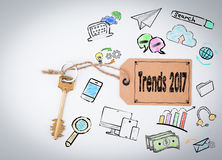 Trends 2017. Key on a white background. Trends 2017. Key and a note on a white background stock illustration