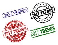 Grunge Textured 2017 TRENDS Stamp Seals. 2017 TRENDS seal prints with distress texture. Black, green,red,blue vector rubber prints of 2017 TRENDS label with dust stock illustration