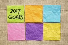 2017 trends in wood type New Year goals on sticky notes Royalty Free Stock Photography