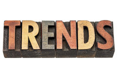 Trends word in wood type Stock Image